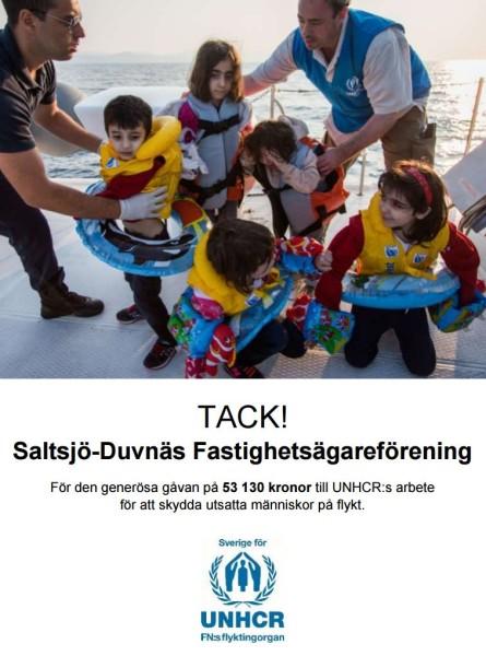 Vårt bidrag till UNHCR